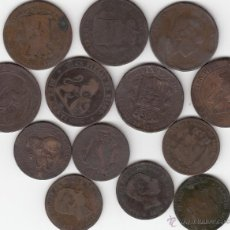 Monedas de España: LOTE DE 13 MONEDAS 5 Y 10 CENTIMOS DE COBRE: I REPUBLICA Y ALFONSO XII. Lote 48904190