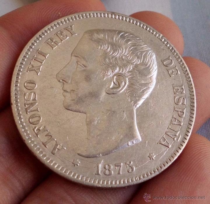 DURO 5 PESETAS 1875 *18*75. ALFONSO XII. PRECIOSA!! (Numismática - España Modernas y Contemporáneas - De Isabel II (1.834) a Alfonso XIII (1.931))