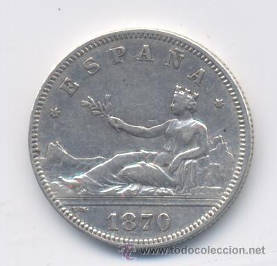 GOBIERNO PROVISIONAL- 2 PESETAS- 1870*18-73-EBC (Numismática - España Modernas y Contemporáneas - De Isabel II (1.834) a Alfonso XIII (1.931))