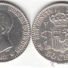 Monedas de España: ALFONSO XIII: 50 CENTIMOS 1892 ESTRELLAS 9-2 ( PLATA ). Lote 49331874