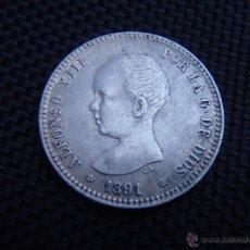 Monedas de España: ALFONSO XIII - 1 PESETA 1891 *18-91 EBC/EBC+. Lote 49408764