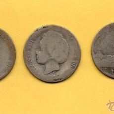 Monedas de España: MM. LOTE 3 MONEDAS 1 PESETA AÑOS 1891 PGM, 1893 PGL Y 1870 (73) DEM. PLATA. PELÓN, BUCLES Y GOBIERNO. Lote 49542781