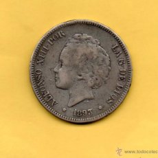 Monedas de España: MM. MONEDA 5 PESETAS ALFONSO XIII ESPAÑA AÑO 1893 PGV ESTRELLAS -- --. PLATA. VER FOTO. DIFICIL !!. Lote 49542854