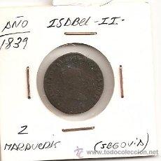 Monedas de España: MUY ESCASA Y BUSCADA MONEDA DE ISABEL II 1839 (COBRE) 2 MARAVEDIS. CECA SEGOVIA. MBC-. Lote 50453168