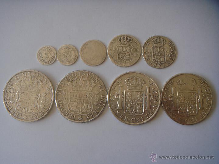 Reales Y Columnarios Lote 9 Monedas Plata M Comprar Monedas De