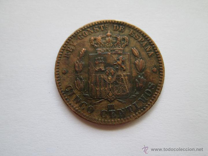 Monedas de España: ALFONSO XII * 5 CENTIMOS 1878-OM BARCELONA - Foto 2 - 51459580