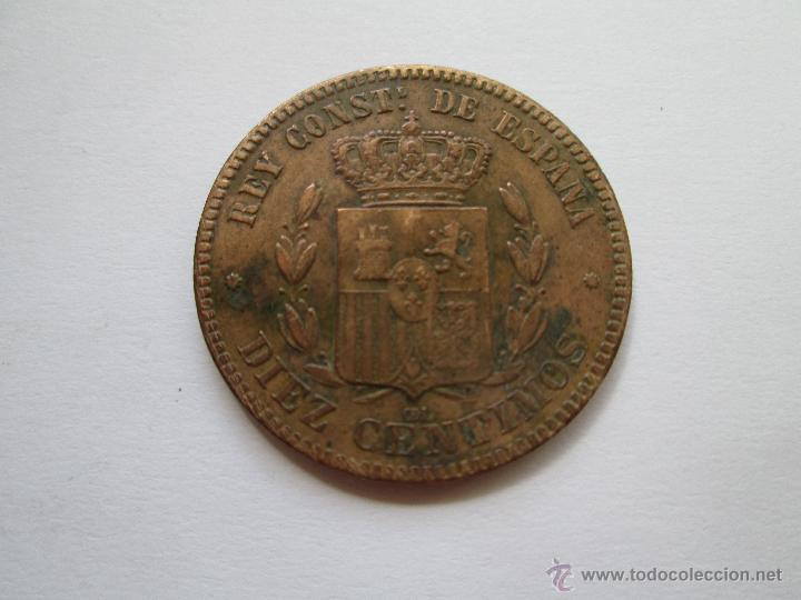 Monedas de España: ALFONSO XII * 10 CENTIMOS 1877 OM BARCELONA - Foto 2 - 51459669