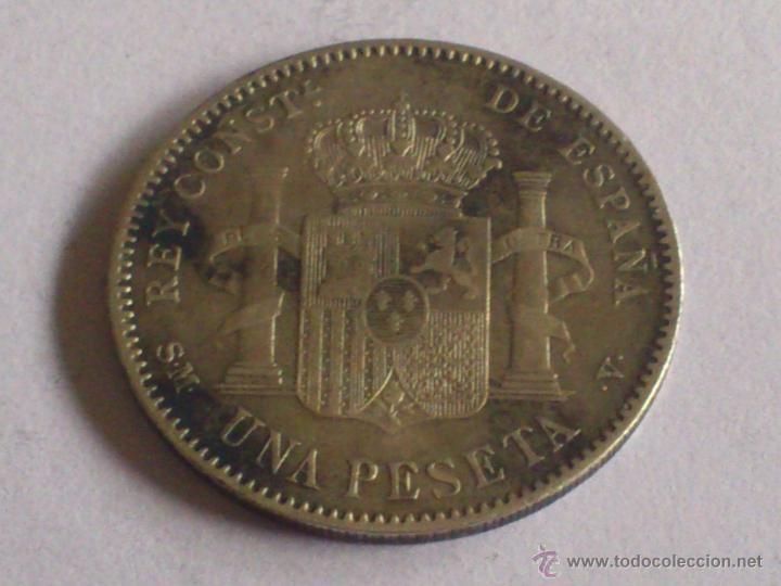 Monedas de España: MONEDA 1 PESETA PLATA, AÑO 1900 ALFONSO XIII - Foto 2 - 51889257
