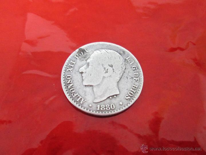 AªMONEDA-ESPAÑA-50 CENTIMOS ALFONSO XII-PLATA-1880-18 MM.D-**NO LEGIBLES-VER FOTOS. (Numismática - España Modernas y Contemporáneas - De Isabel II (1.834) a Alfonso XIII (1.931))
