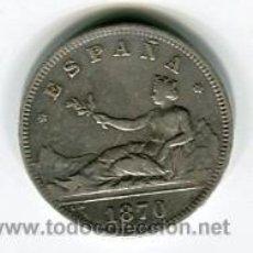 Monedas de España: DOS (2) PESETAS GOBIERNO PROVISIONAL 1870 *18 *73. Lote 52007361