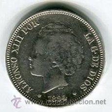 Monedas de España: CINCO PESETAS DURO DE PLATA ALFONSO XIII AÑO 1894 *18 *94 PGV. Lote 52024351