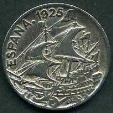 Monedas de España: ESPAÑA 25 CENTIMOS AÑO 1925 PCS ( BARCO CON CARABELAS MONEDA DE LA EPOCA DEL REY ALFONSO XIII ) Nº1. Lote 84778082