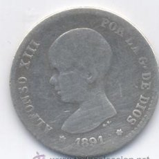 Monedas de España: ALFONSO XIII- 1 PESETA - 1891. Lote 52452318