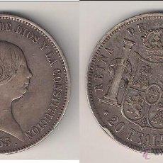 Monedas de España: MONEDA DE ISABEL 2ª (II) DE 20 REALES DE 1855 ACUÑADA EN MADRID. PLATA. MBC. (ISA33).. Lote 53002859