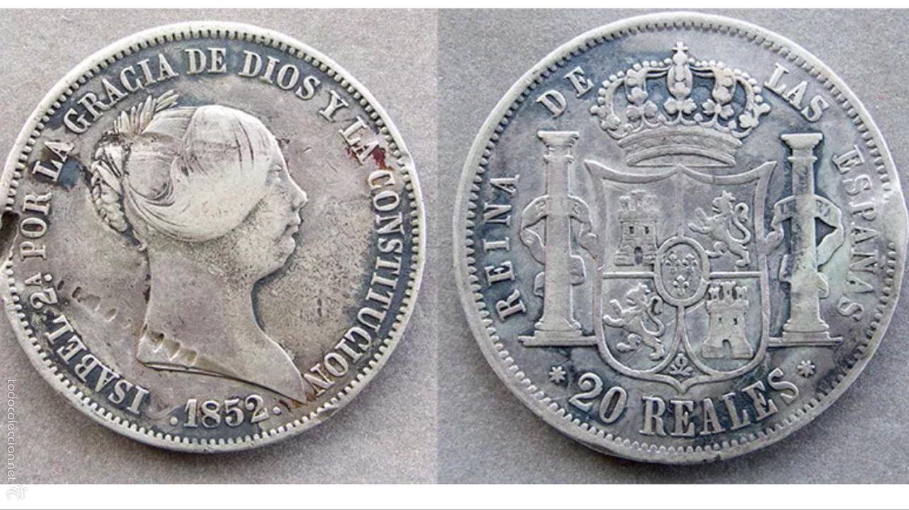 RARÍSIMOS 20 REALES DE ISABEL LL 1852 PLATA MUY RARA (Numismática - España Modernas y Contemporáneas - De Isabel II (1.834) a Alfonso XIII (1.931))