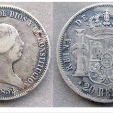 Monedas de España: RARÍSIMOS 20 REALES DE ISABEL LL 1852 PLATA MUY RARA. Lote 53345925