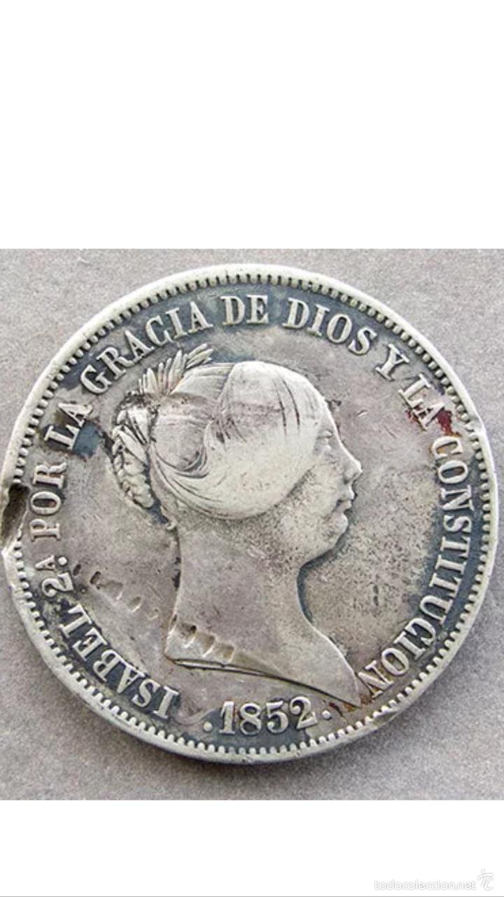 Monedas de España: Rarísimos 20 reales de Isabel ll 1852 plata muy rara - Foto 3 - 53345925