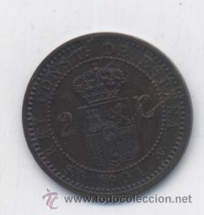 Monedas de España: ALFONSO XIII- 2 CENTIMOS- 1904* EL 0 PARTIDO-VARIANTE-RARA-SC - Foto 2 - 53404557