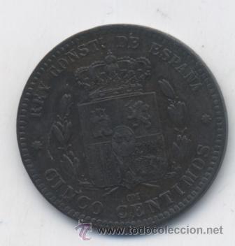Monedas de España: ALFONSO XII- 5 CENTIMOS-1879-OM-SC- - Foto 2 - 53488580