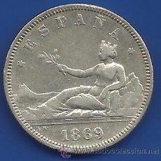 Monedas de España: GOBIERNO PROVISIONAL 2 PESETAS PLATA 1869 *18 -69 SN M ESTRELLAS VISIBLES MBC/MBC-. Lote 53619919