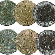 Monedas de España: GOBIERNO PROVISIONAL, 1870. 2 CÉNTIMOS. 3 PIEZAS.. Lote 53798676