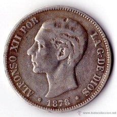 Monedas de España: MONEDA DE PLATA DE 5 PESETAS ALFONSO XII 1878. Lote 53962231