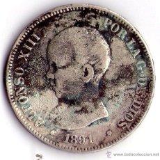 Monedas de España: MONEDA DE PLATA DE 5 PESETAS-ALFONS0O XIII. Lote 53962298