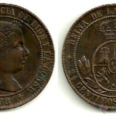Monedas de España: ISABEL II 2 1/2 CÉNTIMOS DE ESCUDO 1868 SEGOVIA OM SC-. Lote 54741381