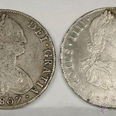 Monedas de España: MO-033. DOS MONEDAS EN PLATA. CAROLUS IIII. DEI GRATIA 1807. 8 REALES.. Lote 50351189