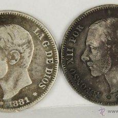 Monedas de España: MO-057. DOS MONEDAS EN PLATA. ALFONSO XII POR LA G. DE DIOS. 1881. 2 PESETAS.. Lote 50436734