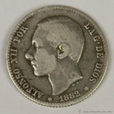 Monedas de España: MO-072. COLECCION DE 11 MONEDAS EN PLATA. ALFONSO XII. 1882. UNA PESETA.. Lote 50453910