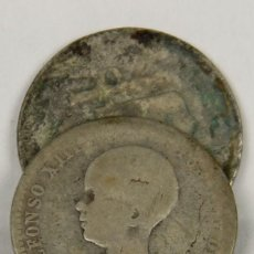 Monedas de España: MO-085 - COLECCIÓN DE 2 MONEDAS EN PLATA DE ALFONSO XIII. 1894. UNA PESETA.. Lote 50491296