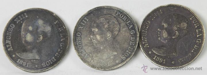 MO-113 - COLECCIÓN DE 3 MONEDAS EN PLATA DE ALFONSO XIII. 1891. 5 PESETAS. (Numismática - España Modernas y Contemporáneas - De Isabel II (1.834) a Alfonso XIII (1.931))