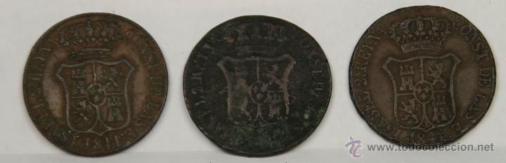 MO-163 - COLECCIÓN 3 MONEDAS EN COBRE. ISABEL II. 1841. 6 QUARTOS. (Numismática - España Modernas y Contemporáneas - De Isabel II (1.834) a Alfonso XIII (1.931))