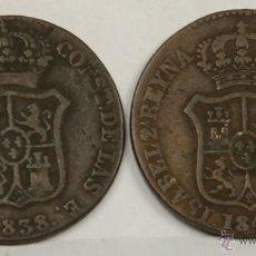 Monedas de España: MO-164 - COLECCIÓN DE 2 MONEDAS EN COBRE,ISABEL II. 1838/1845. 3 QUARTOS.. Lote 50645365