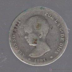Monedas de España: MONEDA DE 1 PESETA. 1891. ALFONSO XIII. PGM. Lote 55024281