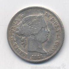 Monedas de España: ISABEL II- 20 CENTAVOS DE PESO-1868-MANILA. Lote 55165421