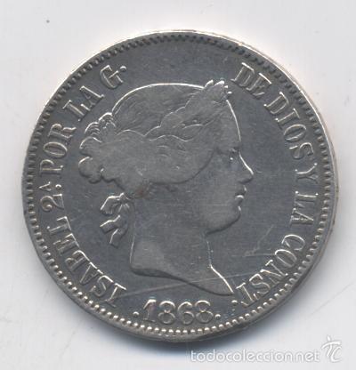 ISABEL II- 50 CENTAVOS DE PESO-1868-MANILA (Numismática - España Modernas y Contemporáneas - De Isabel II (1.834) a Alfonso XIII (1.931))