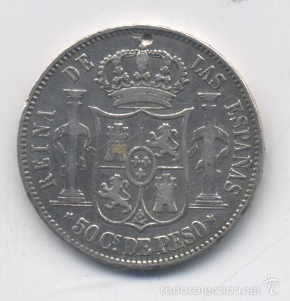 Monedas de España: ISABEL II- 50 CENTAVOS DE PESO-1868-MANILA - Foto 2 - 55165502