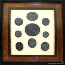 Monedas de España: COLECCIÓN DE 9 MOLDES DE MEDALLAS. PASTA NEGRA. ESPAÑA. CIRCA 1850.. Lote 55176516