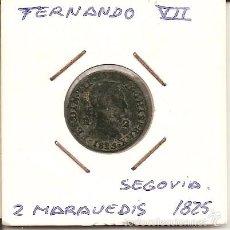 Monedas de España: MUY RARA MONEDA DE COLECCIÓN(FECHA MUY ESCASA) FERNANDO VII 1825 SEGOVIA HISP 2 MARAVEDÍS(COBRE).MBC. Lote 55329262
