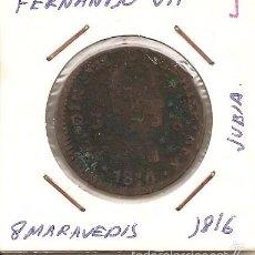 Monedas de España: RARA MONEDA DE COLECCIÓN (FECHA MUY ESCASA). FERNANDO VII 1816 JUBIA 8 MARAVEDÍS (COBRE). MBC-. Lote 55332961