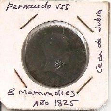 Monedas de España: RARA MONEDA DE COLECCIÓN (FECHA MUY ESCASA). FERNANDO VII 1825 JUBIA 8 MARAVEDÍS (COBRE). MBC-. Lote 55333435