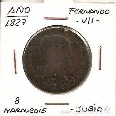 Monedas de España: RARA MONEDA DE COLECCIÓN (FECHA MUY ESCASA). FERNANDO VII 1827 JUBIA 8 MARAVEDÍS (COBRE). MBC-. Lote 55333519