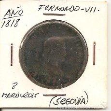 Monedas de España: RARA MONEDA DE COLECCIÓN (FECHA MUY ESCASA). FERNANDO VII 1818 SEGOVIA 8 MARAVEDÍS (COBRE). MBC-. Lote 55333627