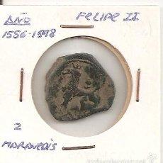 Monedas de España: MUY RARA MONEDA DE COLECCIÓN. FELIPE II FECHA (N.D.) CECA CUENCA C 2 MARAVEDÍS (COBRE). MBC+. Lote 55354872