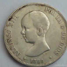 Monedas de España: 5 PESETAS DE PLATA DE 1889 * 89 MP M DE ALFONSO XIII MBC. Lote 55399451