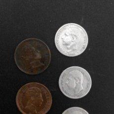 Monedas de España: LOTE DE 6 MONEDAS DE ALFONSO XII PLATA Y COBRE. Lote 56233932
