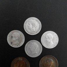 Monedas de España: LOTE 6 MONEDAS PLATA Y COBRE ALFONSO XIII. Lote 56234238