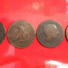 Monedas de España: CUATRO ANTIGUAS MONEDAS DE 1879 EN COBRE. ALFONSO XII. Lote 56307928